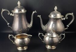 Vintage Silver Plate 4 Piece Footed Coffee/tea Set Made By Mandr