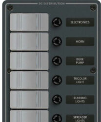 Blue Sea 8053 Contura Switch Panel 6-rocker Switches W/fuses 12-volt Dc