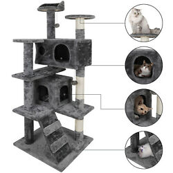 53quot; Cat Tree Scratching Condo Kitten Activity Tower Playhouse W Cave amp; Ladders