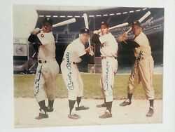 Mantle Dimaggio Mays Snider Autographed Framed 16x20 Photo Auto10 Psa/dna Loa