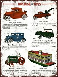 1928 Arcade Cast Iron Toy Ford Fordson Tractor Boat Metal Sign 9x12 A156