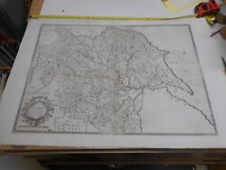 100% ORIGINAL LARGE YORKSHIRE  MAP BY SAXTON P LEAJEFFREYS C1749 SCARCE VGC