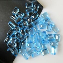 6x4mm Calibrated Natural Swiss Blue Topaz Faceted Emerald Cut Gemstone Cabochons