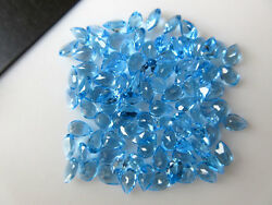 6x4mm Calibrated Natural Swiss Blue Topaz Faceted Pear Gemstone Cabochons BB360