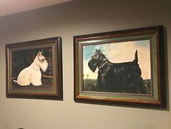 Vintage Paul Stagg Scottish Terrier Paintings (Black & White Terriers)