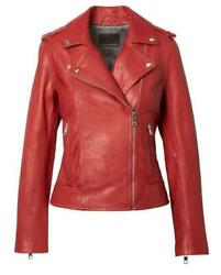 Banana Republic Red Classic Leather Moto Motorcycle Jacket Size Xl Nwt