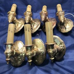 7 Seven Antique Wall Sconce Fixtures C.b. Rogers And Co. Rewired Sconces 76d