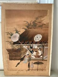Antique Oriental Japanese Unsigned Watercolor Painting 14 3/4
