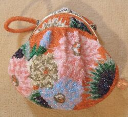 Vintage Handbag 1970andrsquos Hand Beaded Japanese For Kimono Or Evening Wear Tropical