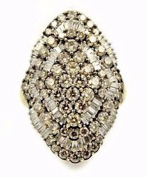 3.60ct 10k Yellow Gold Champagne Diamond Ballerina Cluster Ring Size 8