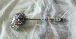 Antique Russian Silver 84 Enamel Serving Spoon Gold Washed 1890and039s Moscow