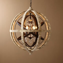 Weathered Wooden Globe Small Chandelier Bedroom Entryway Ceiling Pendant Light