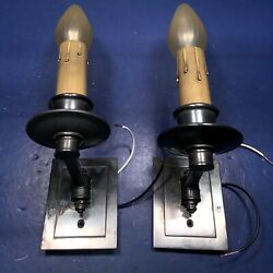 Pair Of Quality Dark Brass Subway Swivel Sconces Rewired Electric Candles 78c