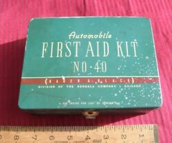 Vintage Bader And Black Auto Car First Aid Kit Metal Chicago Illinois Automobile