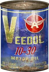 Vintage Antique Style Metal Sign Veedol Oil Can Cutout 12x18