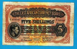 East African Currency Board P26ab 5 Shilling Kgvi W/o Printer Name 1.6.1939 Rare