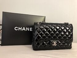 CHANEL Black Patent Leather Jumbo Double Flap Bag Silver Chain Quilted