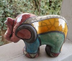 Clay Elephant Hand Made/painted/decorated Crackle/crazing
