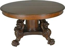 17677 Victorian Oak Lion Body Base 54andrdquo Dining Table Andndash Horner Style