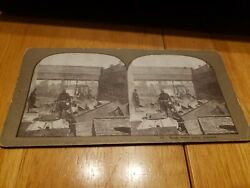 Vintage Stereoscope View Card 17 Bank Safes Being Guarded