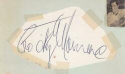 Rocky Marciano D 1969 Signed 2x4 Cut Of Paper Index Card Boxer Jsa Z69376