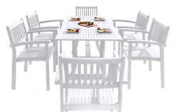 Havenside Home Surfside 7 Piece Wood Outdoor Dining Set Stackable Chairs White