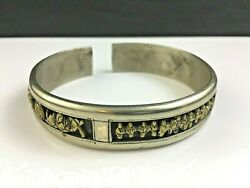 🔷 Antique Signed Chinese Silver W/ Gold Bracelet Immortals And Bats Qing Dynasty