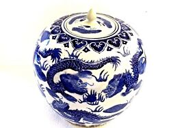 Antique Chinese H/ Painted Blue On White Porcelain Jar With Cover Dragon Design