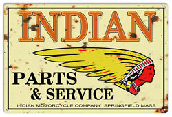 Vintage Antique Style Metal Sign Indian Motorcycle Parts 12x18