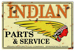 Vintage Antique Style Metal Sign Indian Motorcycle Parts 16x24