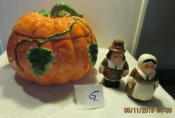 Nice Hand Painted Wcl Soup/vegetable Tureen Pumpkin And Salt And Pepper Shaker