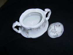 Large Antique Johnson Brothers Sugar Bowl With Dainty Blue Flowers