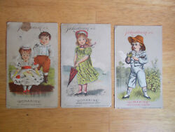 3 J.d.larkin And Co Boraxine Advertising Trade Cards 1880s 3 Diff.children