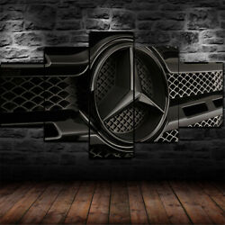 Framed Mercedes Benz Logo Black Poster 5 Piece Canvas Print Wall Art Decor