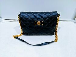 Marc Jacobs The Large Single Shoulder Quilted Leather Metallic Blue Bag Purse
