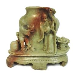 Exceptionally Carved Detailed Vintage Antique Chinese Soapstone Vase Men Food