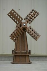 30 Inch Octagon Decorative Spinning Poly Dutch Windmill Antique Mahogany