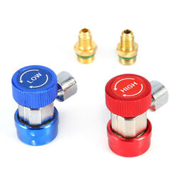 2 X R134a Ac Air Condition Quick Coupler Adapter Connector Red And Blue