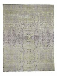 9and039x11and0399 Light Green Tone On Tone Wool And Silk Abstract Handmade Rug G46051
