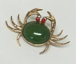 Estate Jewelry Ladies Agate And Coral Crab Pin 14k Yellow Gold 1 1/4 Wide