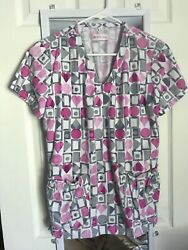 White Cross Women#x27;s Print Scrub Top Size Small. Pink hearts.  $7.00