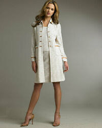 St. John Metallic And Faux Leather Long Jacket, Pencil Skirt 12 And Shell 10 2820