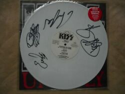 Kiss Unholy 12and039 Single White Vinyl U.k. Import 1992 Signed By All Super Rare