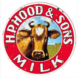 Vintage Antique Style Metal Sign Hood Sons Milk Cow 14 Round