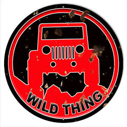 Vintage Antique Style Metal Sign Jeep Wild Thing Red 24 Round