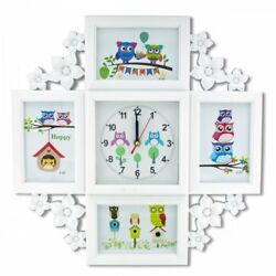 Two Unit Owl Clock Collage Photo Frame Wall Clock Kl17745