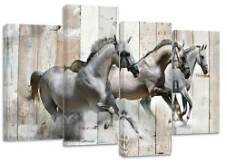 White Horses Galloping Modern Rustic/new Canvas Prints On Wooden Bars