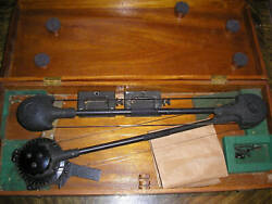Vintage Wwii Aircraft Protractor Bruning Wallace Wooden Case And Accessories
