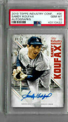 2019 Topps Industry Conference Sandy Koufax Autographs Psa 10 /15