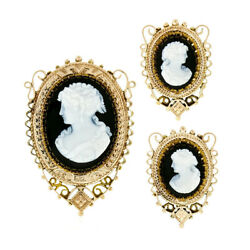 Antique Victorian 14k Gold Oval Black And White Carved Cameo Brooch And Earrings Set
